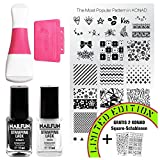 KONAD Stampingset SQUARE mit Double Edge Stamp Set + Stampingschablone XL Best Of + NAILFUN Stampinglack weiss 11ml + Stamping-Lack schwarz 11ml [Limited Edition]