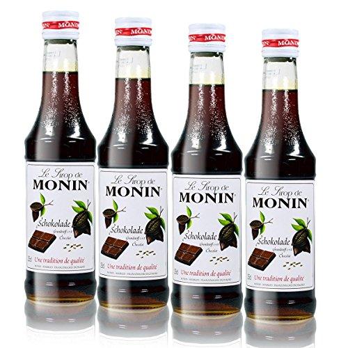 4x Monin Schokoladen Sirup, 250 ml Flasche - für Cocktails, zum Kaffee oder Kochen