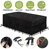 king do way Garden Furniture Covers,Outdoor Furniture Cover 600D Heavy Duty Oxford Polyester Rectangular Patio Table Covers Waterproof,Windproof & Anti-UV Patio Furniture Covers 180X120X74cm(Black)