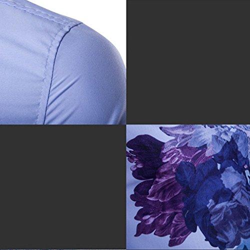 Honghu Chemise Casual Manches Longues-Homme Bleu ciel