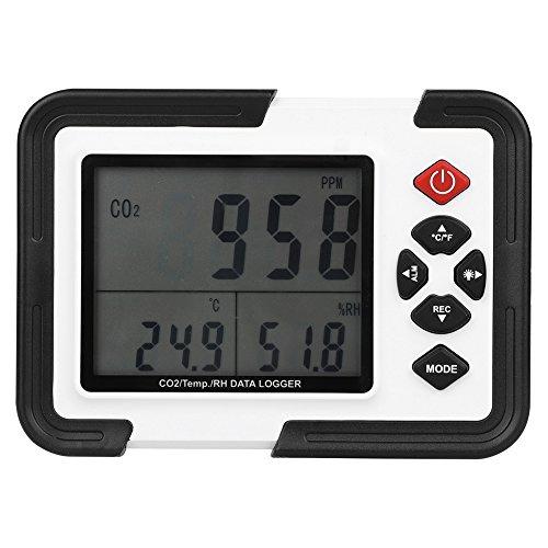 GOTOTOP Temperatur und Luftfeuchtigkeit CO2-Messgerät, Luft Messgerät aus Kunststoff, CO2 Mete mit Großem LCD-Display, NDIR-Wellenleiter Technology mit ABC