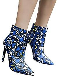 25a3f407ab5e48 Frauen Stiletto Spitz Stiefel Zipper Boots High Heel Ankle Martin Damen  Schuhe Heels Plateau KnöChel Stilettos…