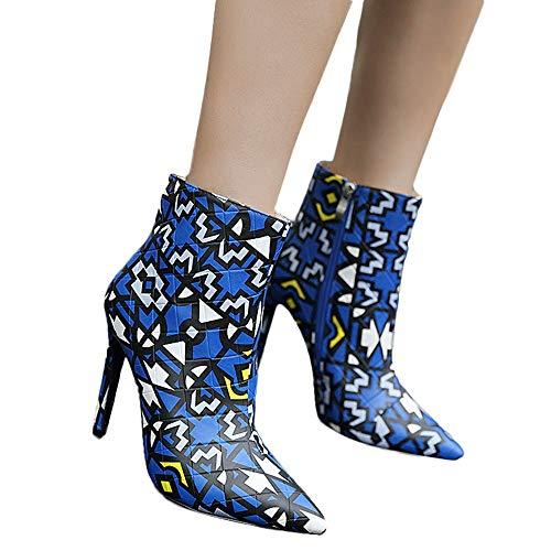 LoveLeiter Frauen Stiletto Spitz Stiefel Zipper Boots High Heel Ankle Martin Damen Schuhe Heels Plateau KnöChel Stilettos Schnallen Womens Autumn-Winter Sneaker Kurz Stiefeletten(Blau,40)