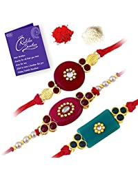 Sukkhi Elegant Gold Plated Solid Rakhi Combo Set (Set of 3 Rakhis) with Roli Chawal and Raksha Bandhan Greeting Card for Men