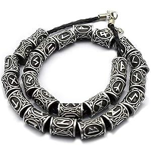 Mcree - 24rune, norvegesi, vichinghe, antiche, charm, color argento, per braccialetto, ciondolo, collana, dreadlock per barba, capelli, bigiotteria, Silver, 24 Pezzi