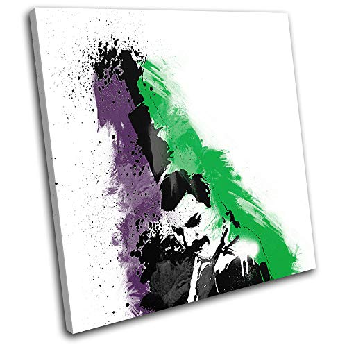 Bold Bloc Design - Freddie Mercury Queen Abstract Pop Musical 75x75cm Single Caja de Lamina de Arte Lienzo Enmarcado Foto del Colgante de Pared - Listo para Colgar Canvas Print RC-6417(00B)-SG11-LO-C