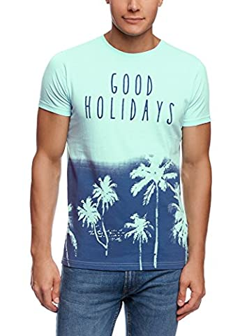 oodji Ultra Homme T-shirt Imprimé Plage, Turquoise, FR 56 / XL