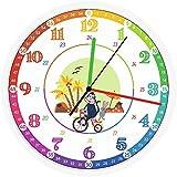 Kinderwanduhr - Original Design Zum lernen der Stunden-Zeit mit Spass Mit geräuschloser Bewegung Durchmesser 30 cm
