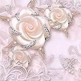 LONGYUCHEN Benutzerdefinierte 3D Seide Wandbild Tapete Pflanze Muster Rosa Floral Schlafzimmer Wohnzimmer Tv Hintergrund Wand Dekoration Wandbild,120Cm(H)×210Cm(W)
