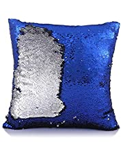 Kartik Sequin Mermaid Throw Pillow Cover with Magical Color Changing Reversible Paulette Design Decor Cushion Pillowcase Set of 1 - (16x16 Inches)- Blue & Silver
