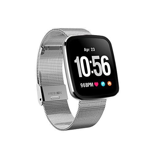 FromPRO V6HD-Bildschirm, Fitness Tracker, Smartwatch OLED Herzfrequenz Blutdruckmessgerät Smart Watch Sport Smart Watch Armband, Silver Steel