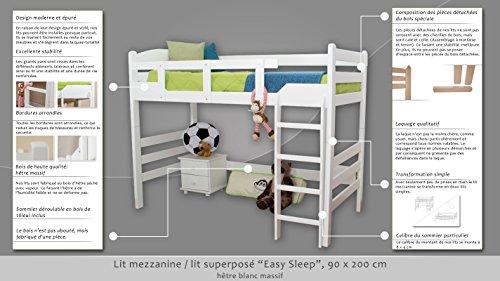 """Kinderbett / Hochbett """"Easy Möbel"""" K14/n, Buche Vollholz massiv Weiß – Maße: 90 x 200 cm"""