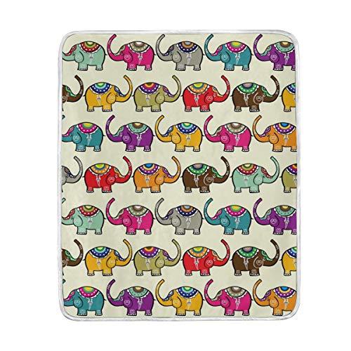 Ahomy - Manta Suave y cálida con diseño de Elefantes Indios, tamaño...