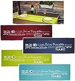 Unbekannt 1 Stück _ Tischläufer -  Foods & Drinks  - incl. Name - 45 cm x 150 cm lang - Bunte Farben - 100 % Baumwolle - fleckabweisend / Leinen Struktur - Tischdeko ..