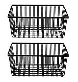 NEUN WELTEN 2er Set Klassisch Aufbewahrungskorb 35.5 x 24.5 x 15.5cm Groß Drahtkorb aus Metall für Küche, Bad oder Vorratskammer (Groß, Schwarz)