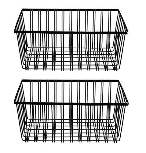 NEUN WELTEN Klassischer Draht-Aufbewahrungskorb, 32 x 24 x 15 cm, für Küche, Regale, Speisekammer und Schrank (groß, schwarz)
