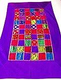 A1Sonic Calidad para menos camino de mesa 100% algodón 59' x 37' bordado a mano boho bohemio colorido patchwork moderno patrón floral decoración boda recepción fiesta decoración tapiz