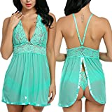 Avidlove Ropa Interior Camison Babydoll Vestido Set Encaje Transparente(Verde XXL)
