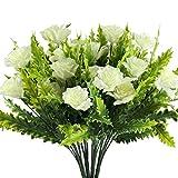 MIHOUNION Künstliche Blumen 4 Stücke Pfingstrose Künstlich Weiss Deko kunstblumen Busch Pflanze Unechte Blumen plastikblumen für Terrarium Topf Balkon außen