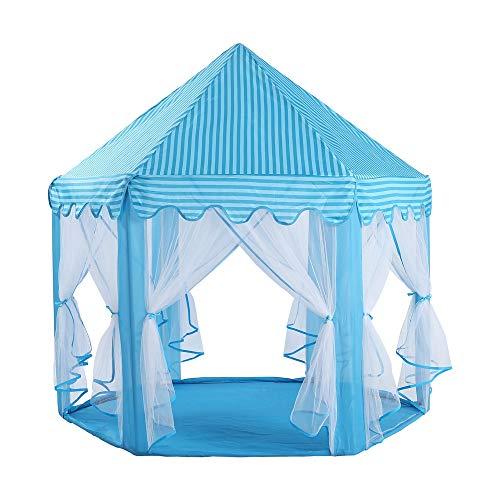 KINGEE-P Casa de Juegos para Niños de Interior con PVC Duradero Fácil Plegable Plegable Princesa Castle Play Tent para Niños,Blue