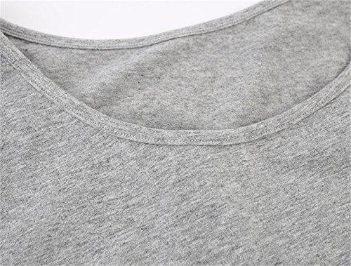 Schwangere Top, ZUMIY® Maternity-Shirt Schwangerschaft Stilltop, Frauen Baumwoll Rundhals Rüschen Taille Mutterschaft Unterwäsche Grey+White/2-pk