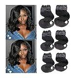 Topuhair 6 Tissages Naturel Body Wave Cheveux Humains 1B Color Cheveux Boucle Extensions De Cheveux Remy (8/8/8/8/8/8Pouces 300g, T1b)