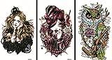 Neueste neues Design und heiße verkaufende realistische Tattoo-Aufkleber 3pcs in einem Paket, wird es auch schöne Mädchen und Eule temporäre Tattoos