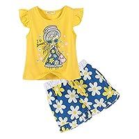 LittleSpring Little Girls' Shorts Set Little Girl Printing Size 6 Yellow