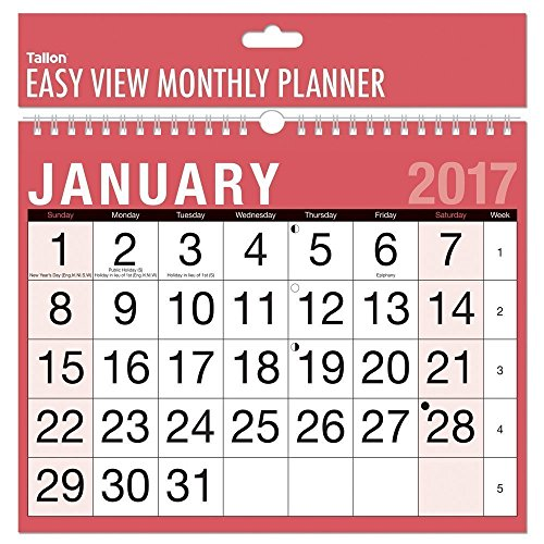 2017 A4 Easy Month To View Spiral Bound Wall Planner Calendar - Landscape - home office work