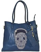 GFM Faux Leather Celebrity Style DIAMANTE SKULL Shoulder Tote Bag