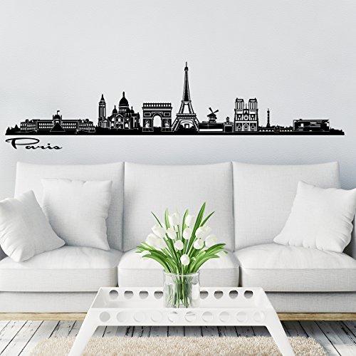 Wandkings Skyline Wandaufkleber Wandtattoo - 125 x 30 cm in schwarz - Deine Stadt wählbar - - Paris-wand-aufkleber
