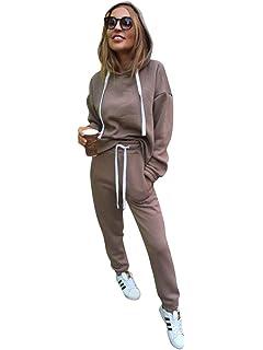 Minetom Femmes 2 Pièce Survêtement Combinaison Manches Longues Sweats à  Capuche Sweat-Shirt Top + 4d8772a0b99