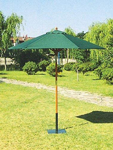Galleria fotografica HOMEGARDEN Ombrellone tondo in legno e telo in poliestere verde
