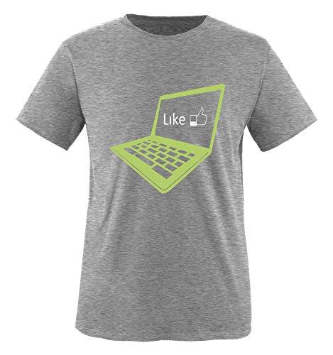 Comedy Shirts - I like laptop - Jungen T-Shirt - Grau / Hellgrün-Weiss Gr. 134/146 (Serie Notebook Gr)
