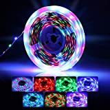 LED Strip | infinitoo RGB LED Strip 5M LED Band Lichtband Streifen | Bunt LED Leiste Lichtleiste Bänder inkl. Fernbedienung, Farbwechsel, Selbstklebend Lichterkette Led
