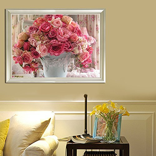 Broadroot Pot de fleurs Rose 5d Diamant bricolage Peinture Craft Kit décoration de chambre
