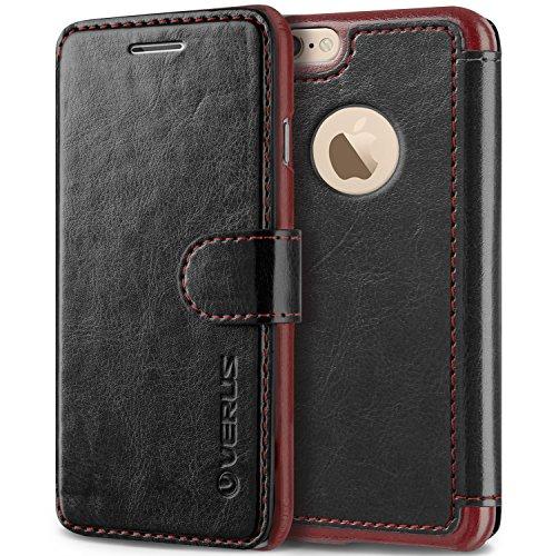 Coque iPhone 6S/6, VRS Design [Layered Dandy][Marron Foncé] - [Fentes pour Cartes Housse Cover][Étui portefeuille à rabat en cuir PU][Protection Case]- pour iPhone 6/6S Noir
