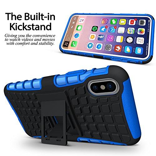 iPhone X Fall, BELK ultra dünner Shockproof Verteidiger-Abdeckungs-Anti-Rutsch-harter TPU rückseitiger Shell-Intensivschutz-Stoßdämpfer-Hülsen-Kasten für iPhone X Blau