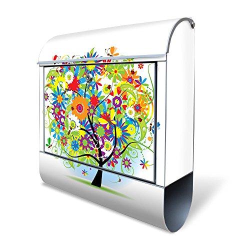BANJADO Design Briefkasten mit Zeitungsfach, 2 Schlüssel, A4 Einwurf, silber pulverbeschichtet, mit Motiv Märchenzauberbaum