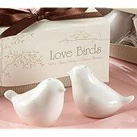 kinttnyfgi Love Birds Keramik Salz und Pfeffer Shaker Essig Sets personalisierbar Hochzeit Geschenk (weiß)