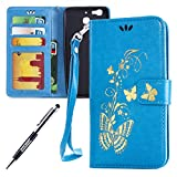 Kompatibel mit Huawei G8 Mini/Enjoy 5S/GR3 Hülle Hülle Luxus Gold Schmetterling Muster Lanyard/Strap Pu Leder Hülle Handytasche Brieftasche Etui Schutzhülle Flip Wallet Case Cover Blau