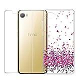 LJSM 1 x HTC Desire 12 Hülle Transparent + 2 x Panzerglas Displayschutzfolie Schutzfolie - Weich Silikon Schutzhülle Crystal Flexibel TPU Tasche Schale Case für HTC Desire 12 (5.5