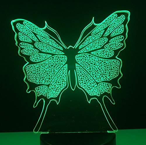 Nachtlicht des Babykindspielzeugs bunte Acryltischlampe der netten Illusions-LED des Schmetterlinges 3D für Parteiweihnachtsgeschenk-Ausgangsdekor (Illusion Wand-kalender)