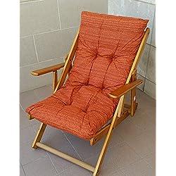Sillón tumbona Relax de madera plegable Cojín relleno H 100cm Salón Cocina Lounge sofá