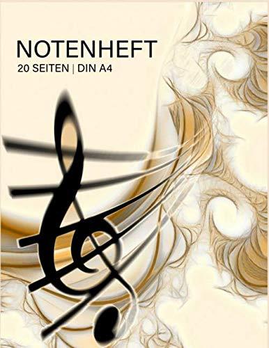 NOTENHEFT 120 SEITEN | DIN A4: Notenbuch | für Musiker & Komponisten | für den Musikunterricht | leere Notenlinien