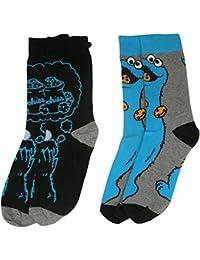 y1h413 de Barrio Sésamo Monstruo de las galletas para hombre calcetines (tamaño 6 – 11