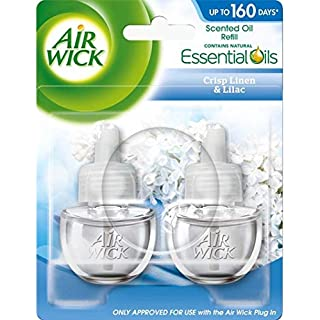 Air Wick Air Freshener, Electrical Plug-In, Crisp Linen and Lilac, Refill 19 ml, Pack of 2