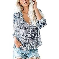 Camisa Suelta Floral de Mujer Cuello en V Manga Larga Camisetas Blusas Casuales Tops Largos Boho Flores