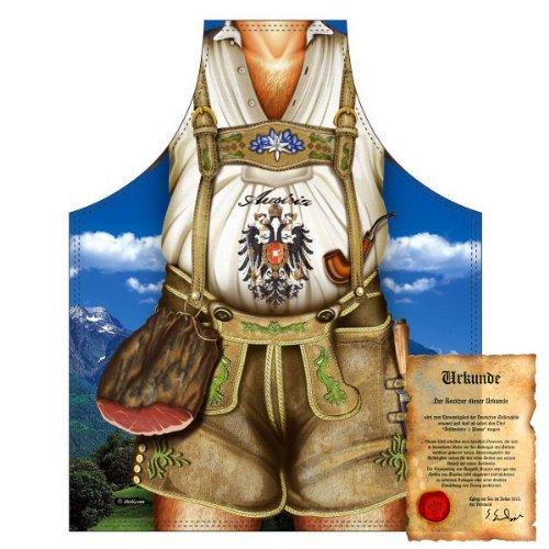 bedruckte Fun Grill Schürze - Motiv: Austria Mann braun - Spaß Grillschürze Kochschürze Weihnachten Tracht Nikolaus Küche (Idee Herren Trachten)