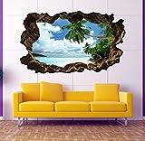 3D Wandtattoo Palmen Meer Strand Wasser Sand Wandbild sticker selbstklebend Wandmotiv Wohnzimmer Wand Aufkleber 11E630, Wandbild Größe E:ca. 168cmx98cm - 2
